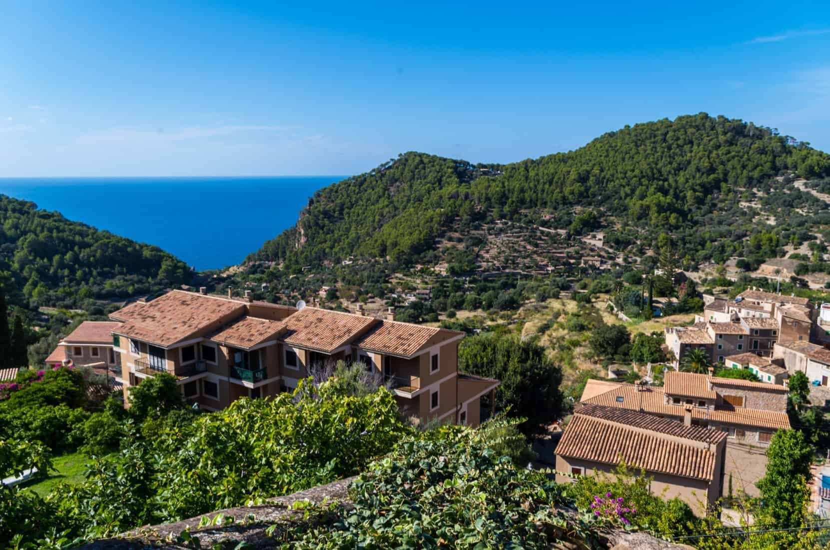 Beautiful panorama of the town Estellencs in the mountains of Tramuntana on Mallorca, Spain