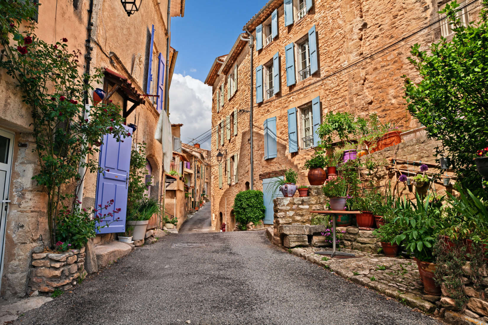 Mane, Forcalquier, Provence, France: picturesque ancient alley in the old town with plants and flowers