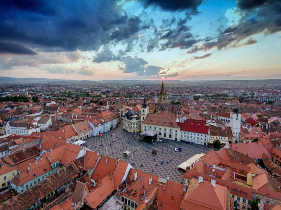 Aerial View of Sibiu at sunset in Transylvania, Rumania in Transylvania, Romania