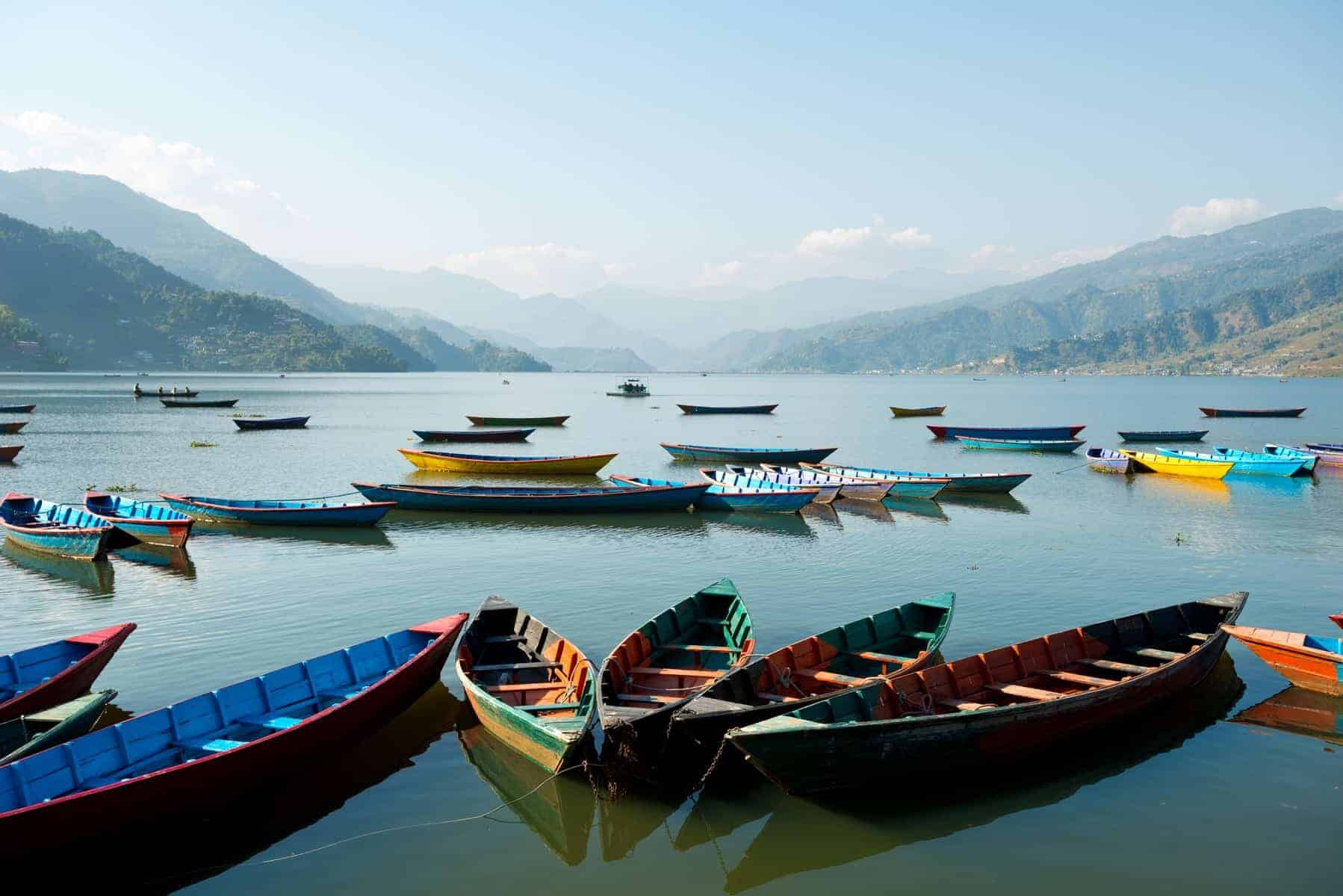 Pokhara, Nepal. Boat, still water