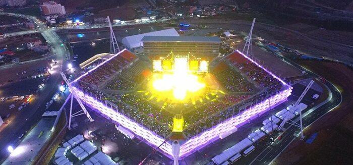 de olympiske vinterlege i Sydkorea, Pyeongchang vinter olympiske stadion, Pyeongchang vinter olympiske stadion