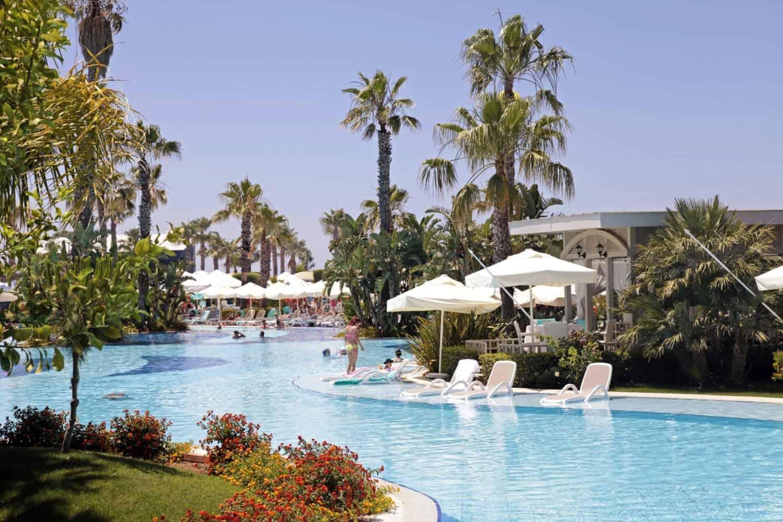 Belek Summer view with resort swimming pool in Belek, Turkey