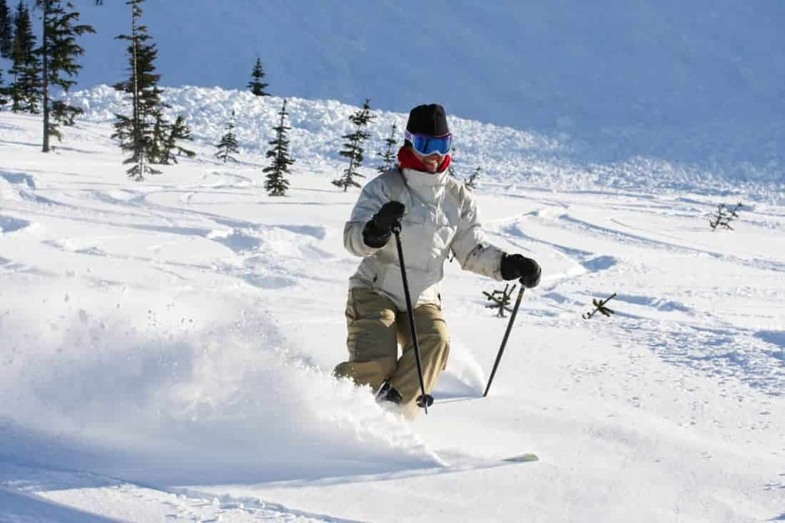Canada. A skier descends a trail on Whistler Mountain.