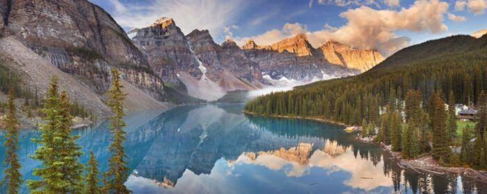 Canada. Beautiful Moraine Lake in Banff National Park, Canada. Photographed at sunrise.