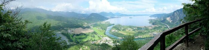 Lago Maggiore with cloudy blue sky in summer in Italy. The other lake on the left is Lago Mergozzo