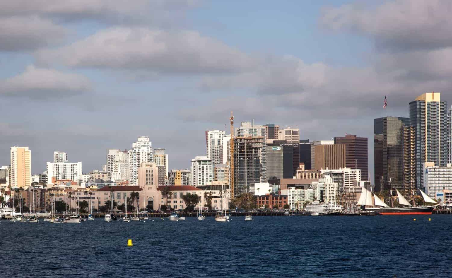 San Diego. Looking across the harbor to the beautiful San Diego skyline
