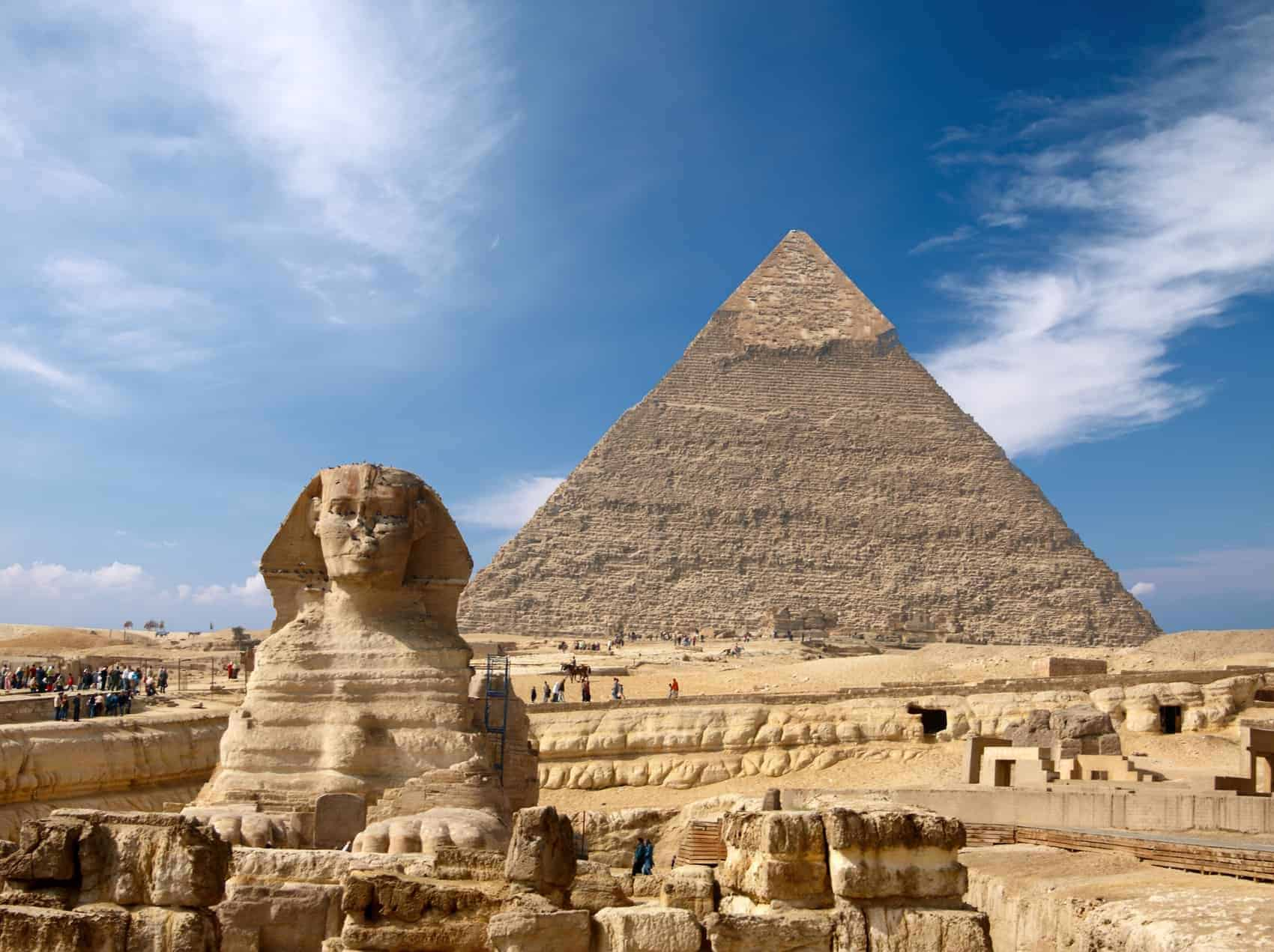 Sphinx and the Great pyramid in Egypt, Giza