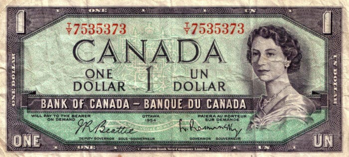 Vintage Canadian dollar bill circa 1954