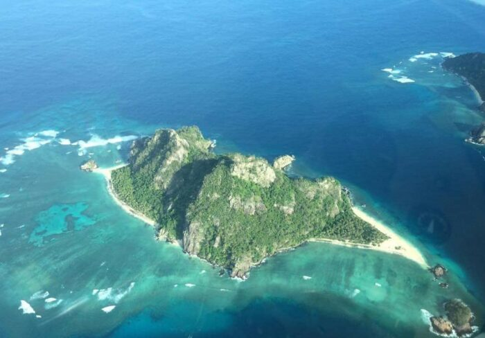 Monuriki (Tom Hanks Island) from the air Mamanucas