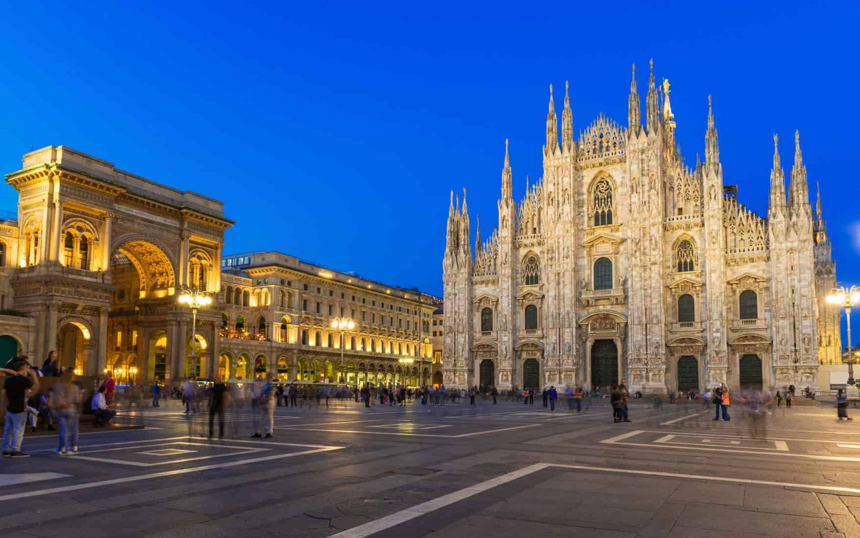 Night view of Milan Cathedral (Duomo di Milano), Vittorio Emanuele II Gallery and piazza del Duomo in Milan