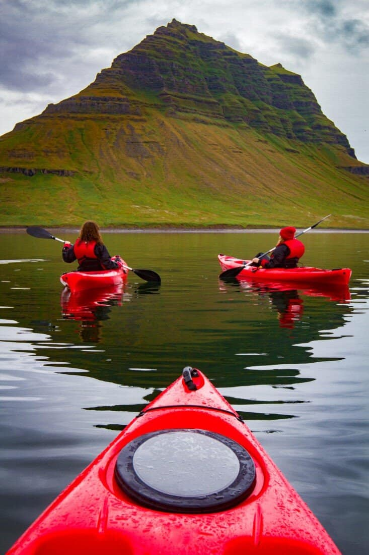 Extreme adventure sport, Iceland kayaking, paddling on kayak, outdoors activity