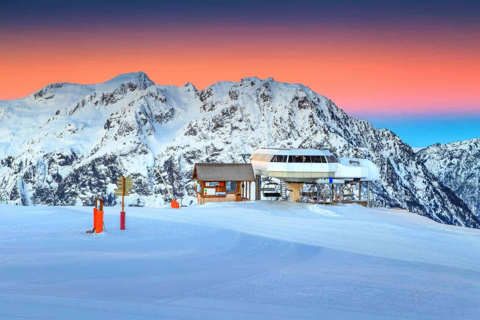 Cable car station and signboard, Alpe d Huez,France, Europe
