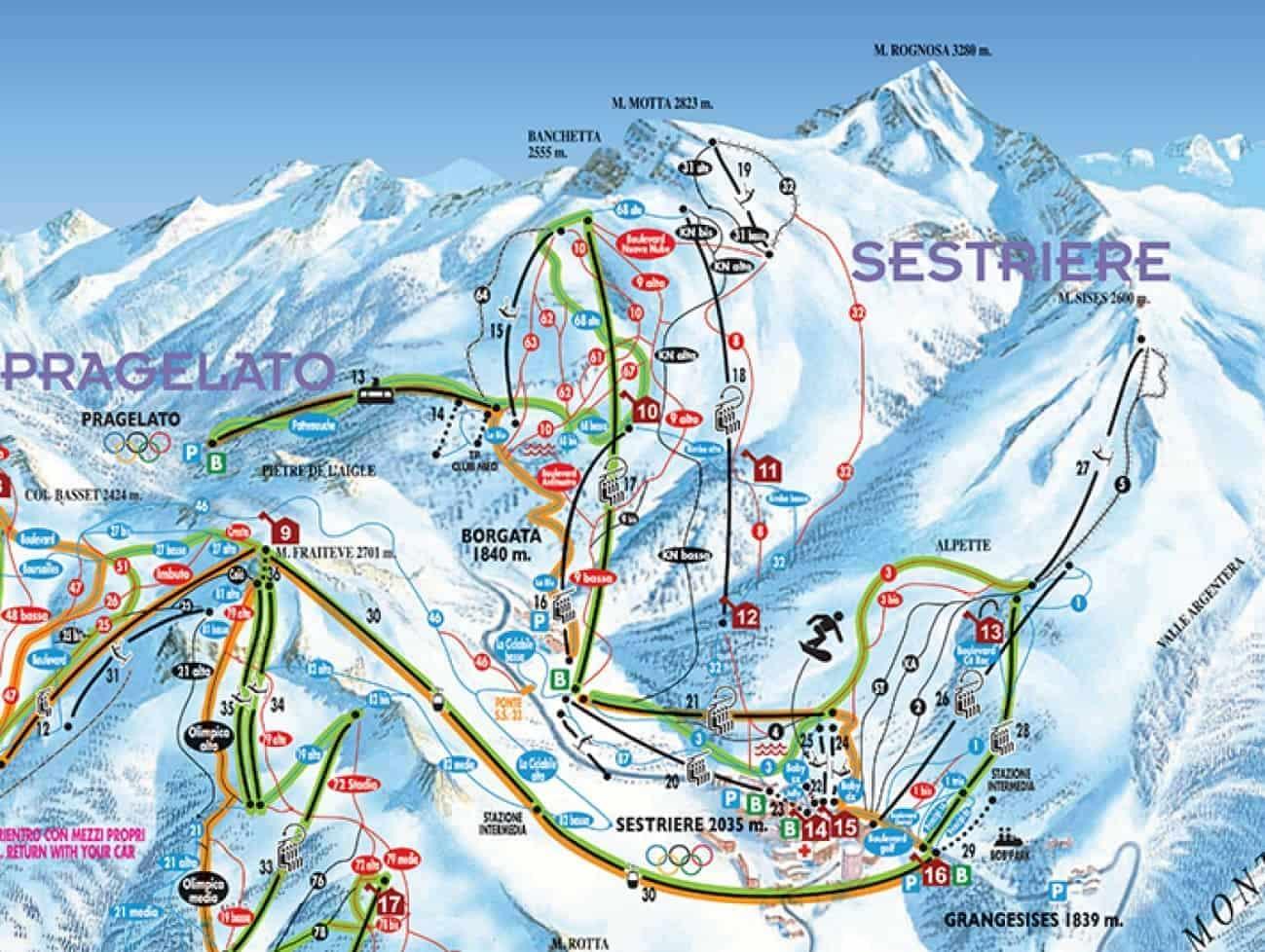 Sestriere, skiarea