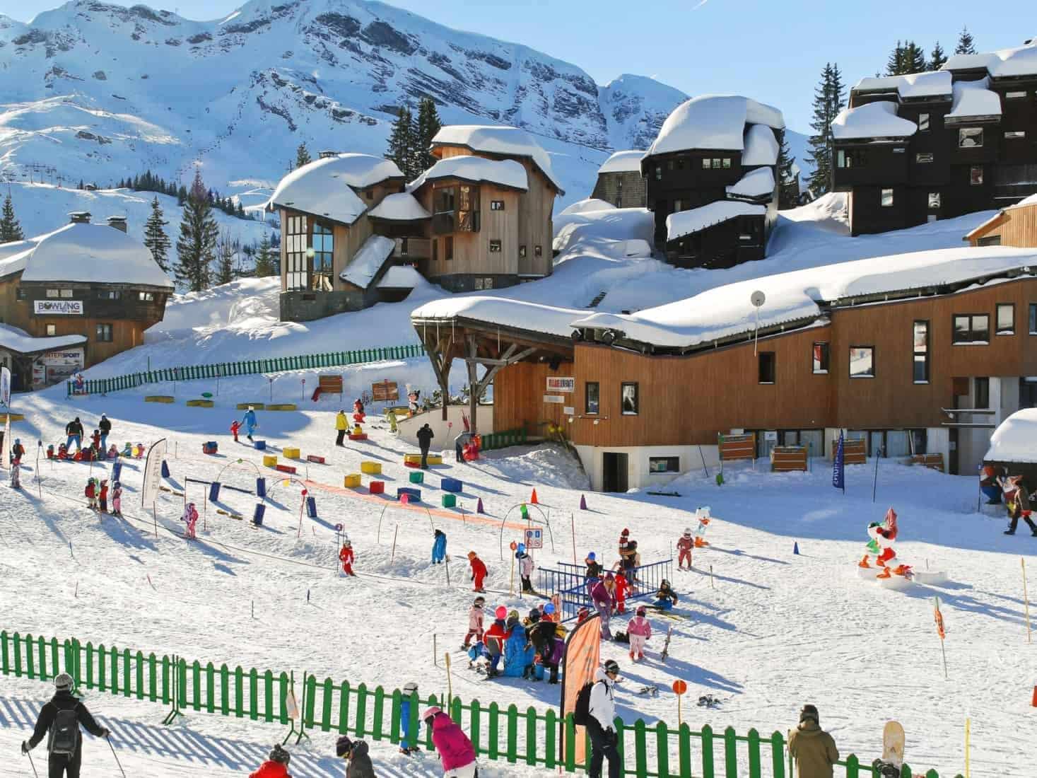 Ski children area in Avoriaz town in Alps, France