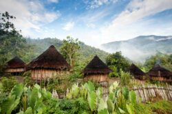 A traditional hut in an Indonesian mountain village