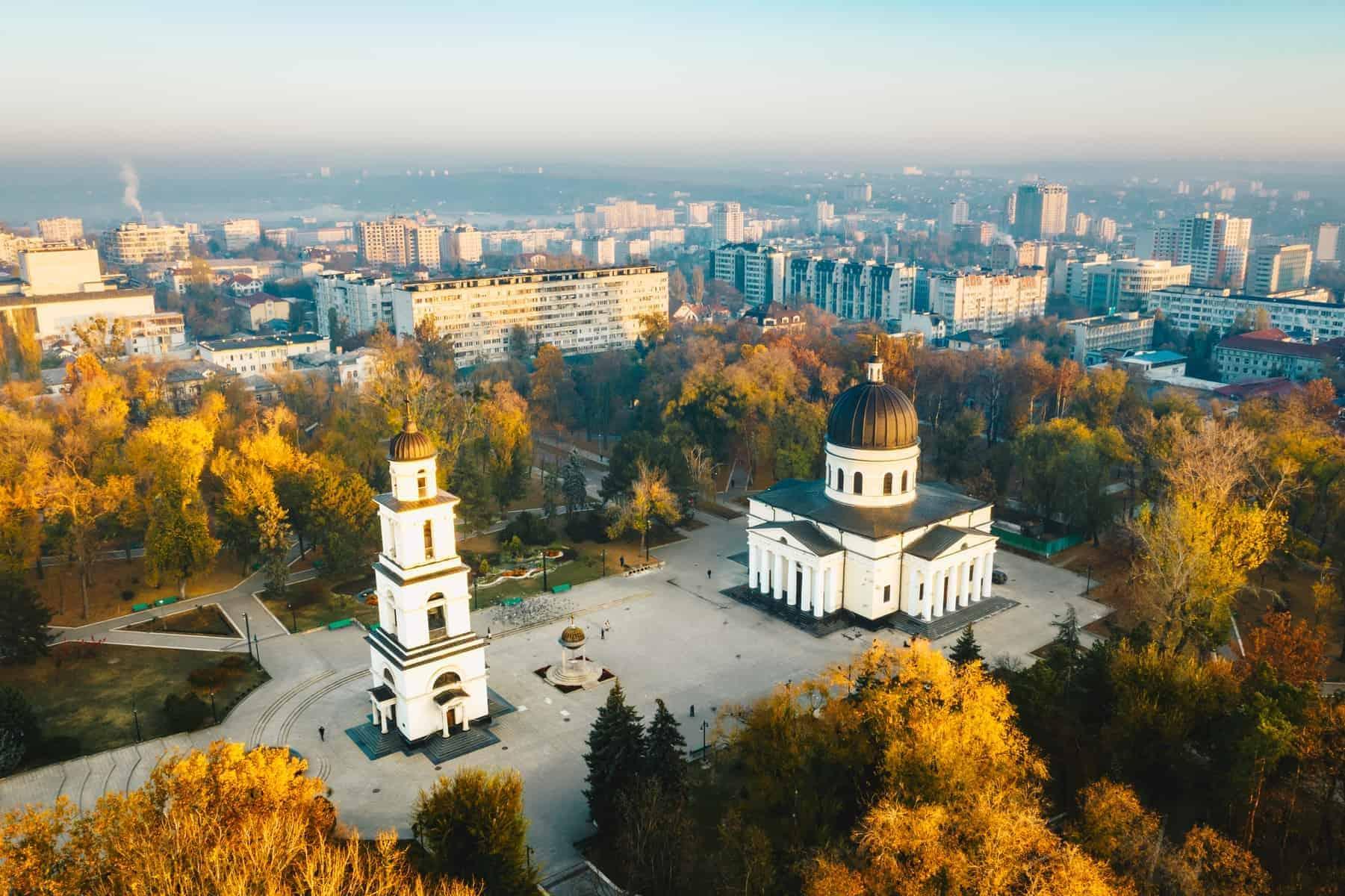 Chisinau i Moldova, ved solnedgang.