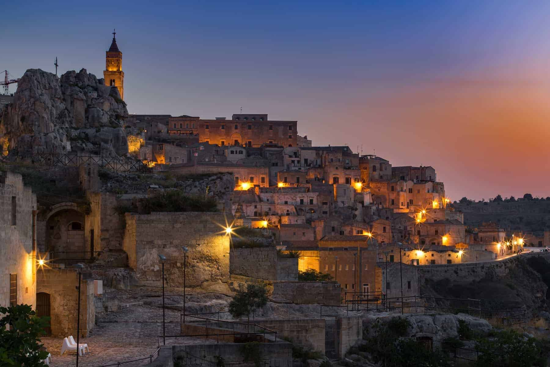 Old town of Matera at dusk, Basilicata region, southern Italy