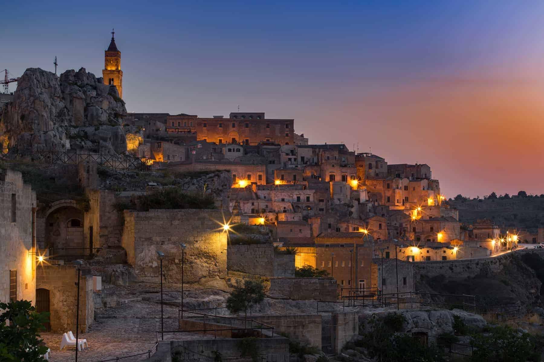 Old town of Matera at dusk, Basilicata region, southern Italy