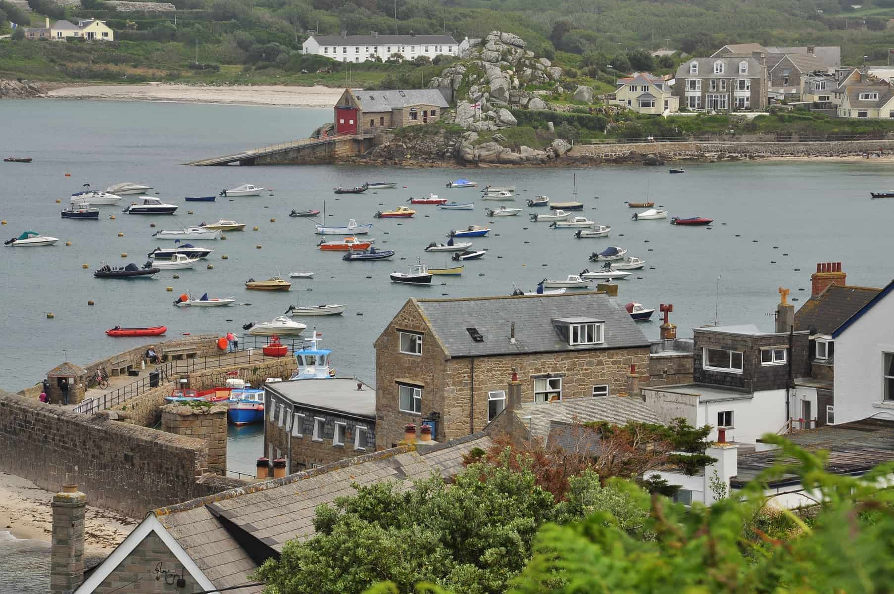 Isles of Scilly, old harbor and waterfront of Saint Mary - Hugh town. British summer resort, Cornwall, England, Britain.