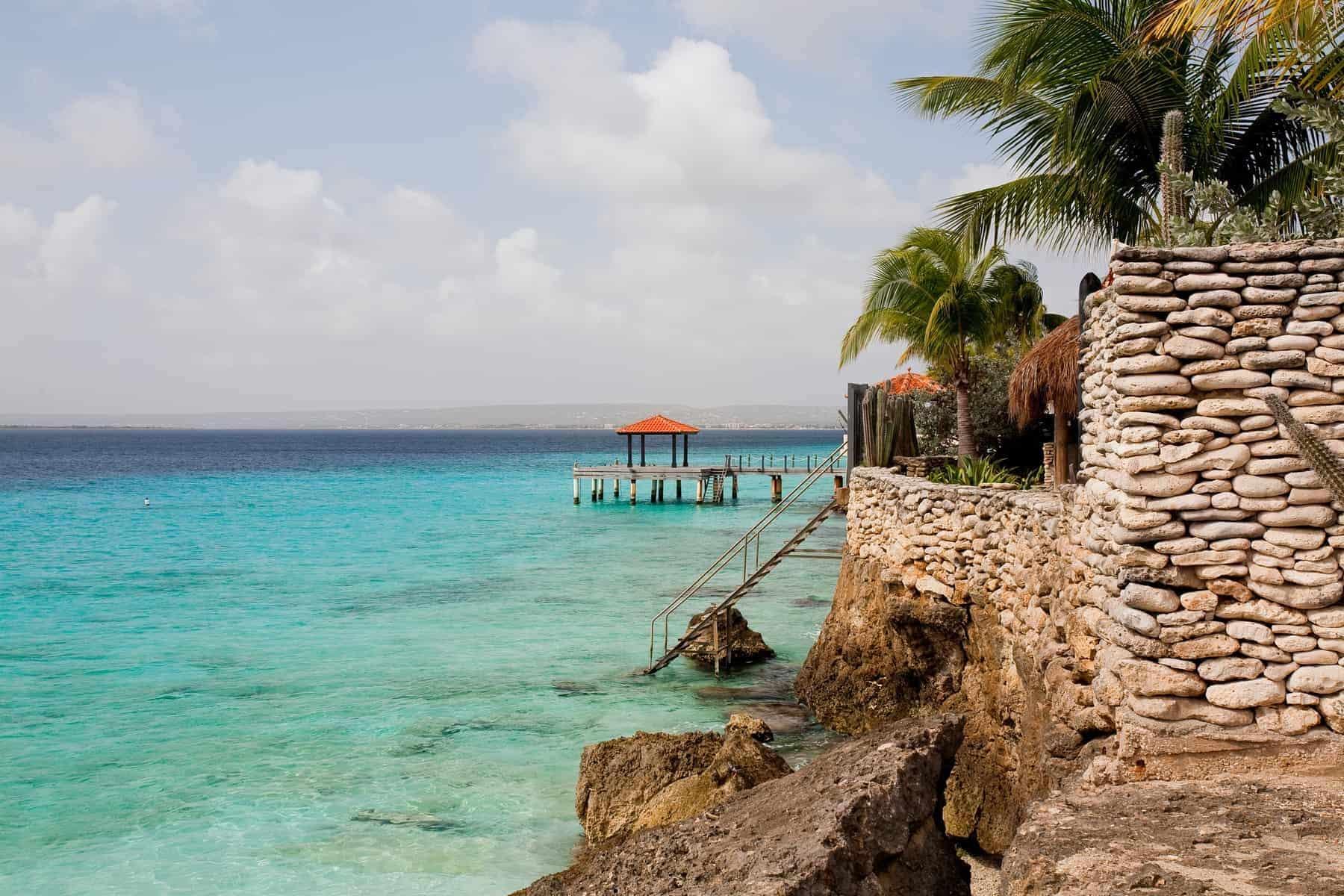 Bonaire verdens første blue destination. Gazebo with orange roof, Bonaire, Caribbean, Dutch Antilles.