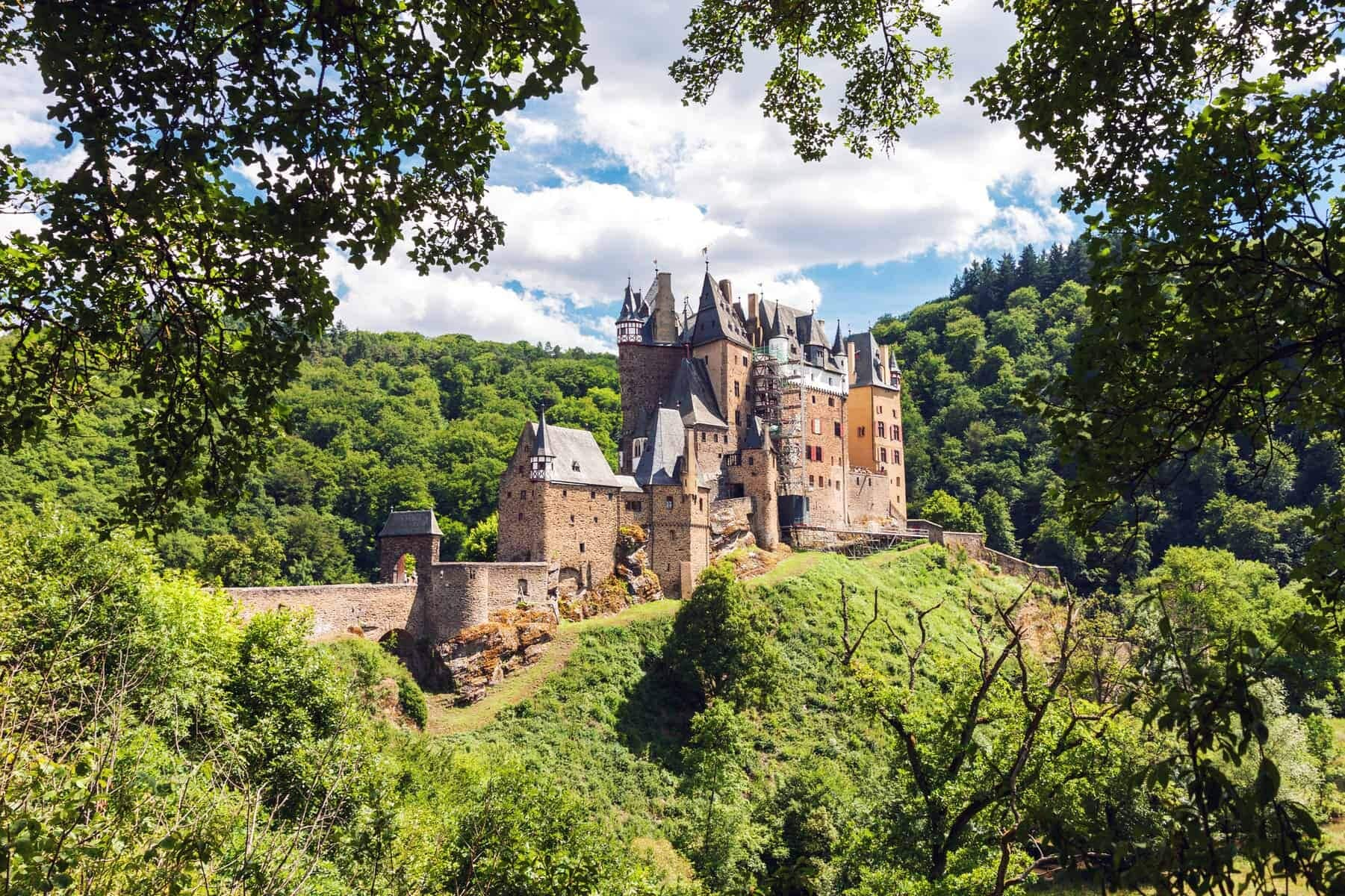 Medieval Eltz Castle nestled in the hills above the Moselle River between Koblenz and Trier, Germany