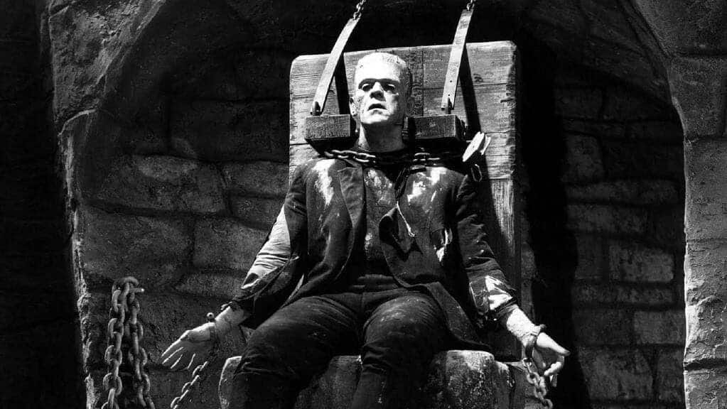 Frankenstein castle, Boris Karloff in the movie from 1933
