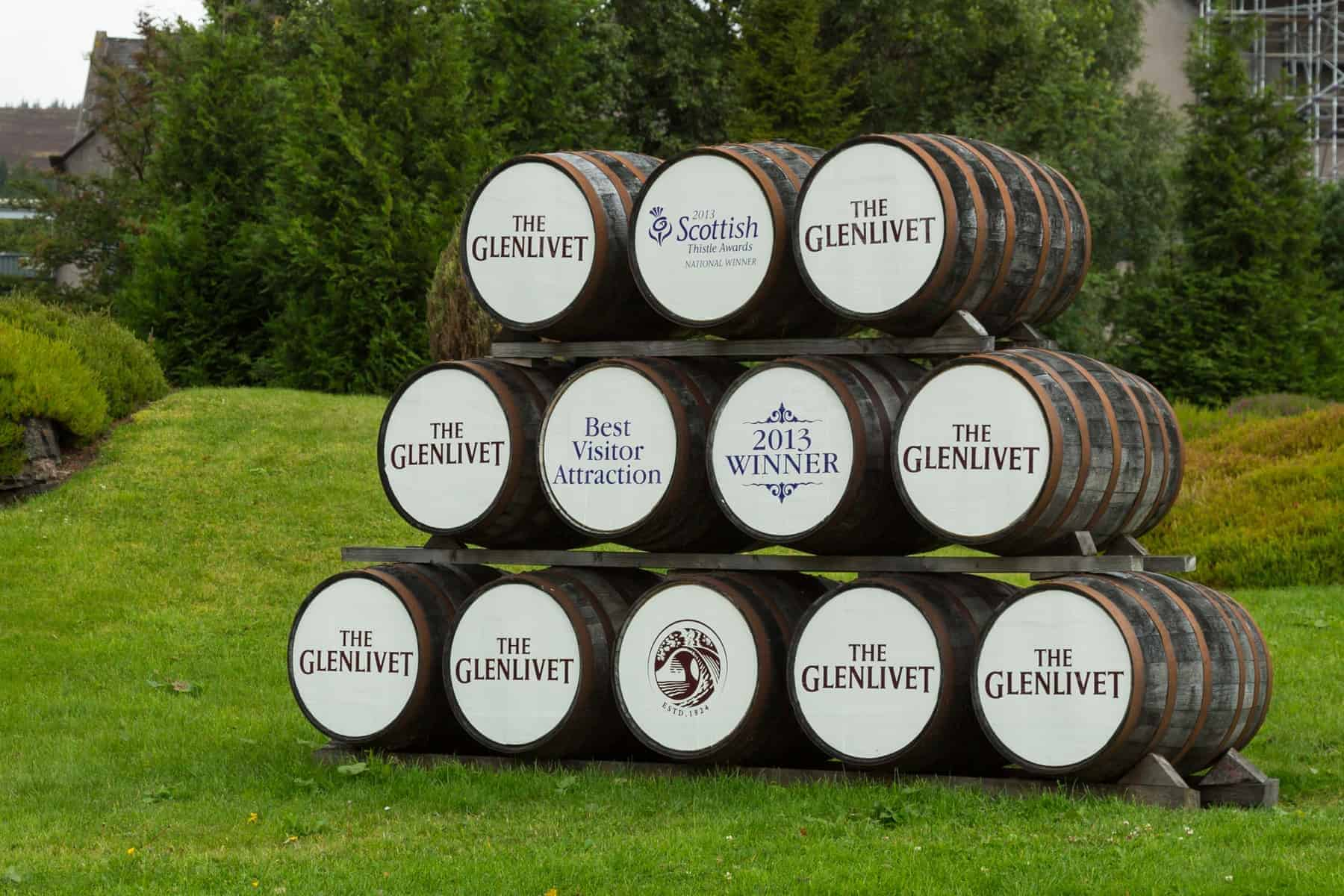 The Glenlivet whisky barrels in front of the distillery
