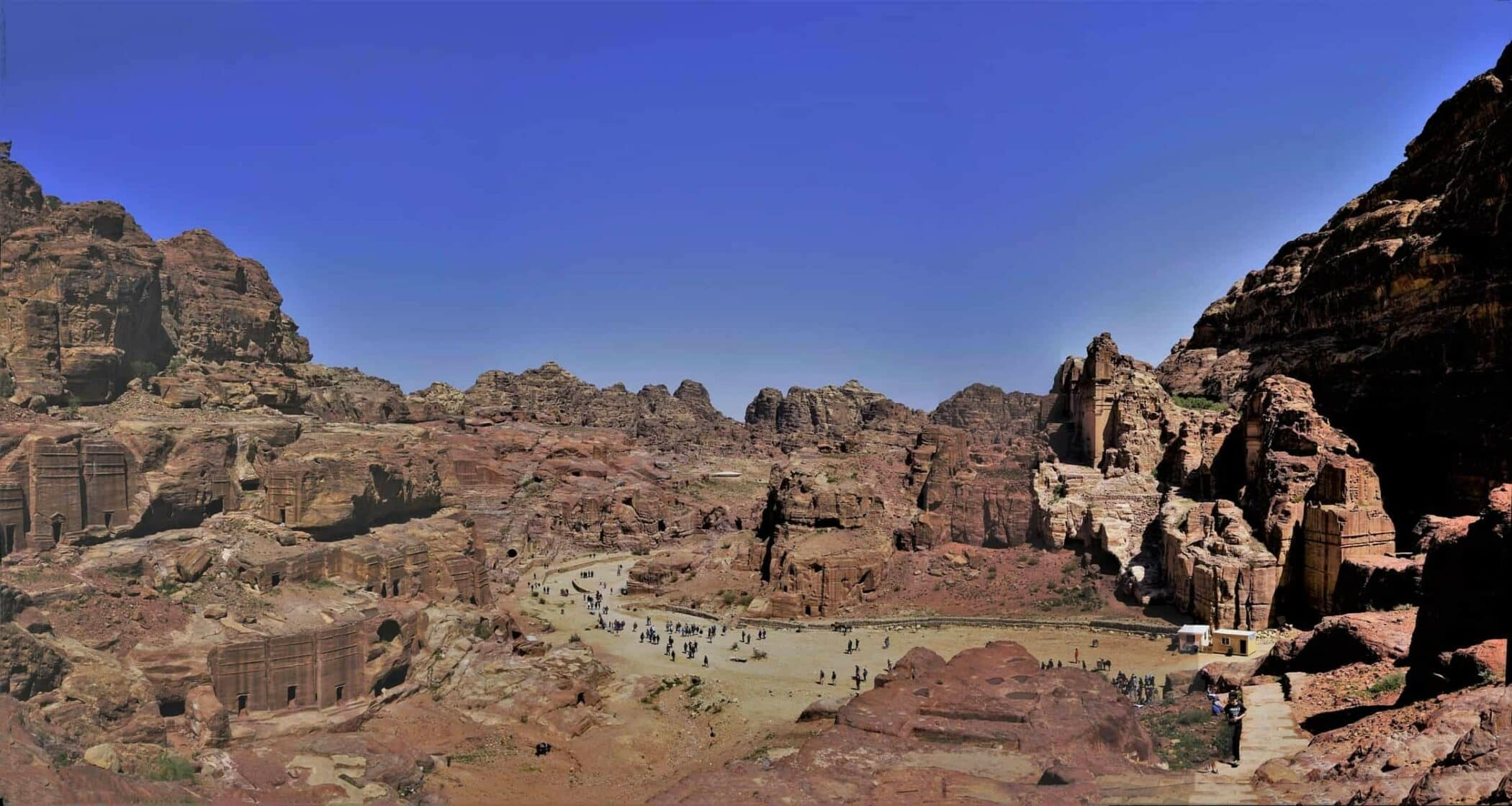 Panorama of ancient Petra, Jordan. This is the traditional route to the monasteries.