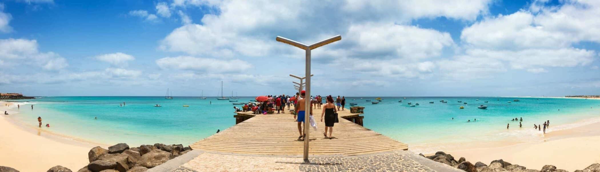 Santa Maria beach pontoon in Sal Island Cape Verde - Cabo Verde.