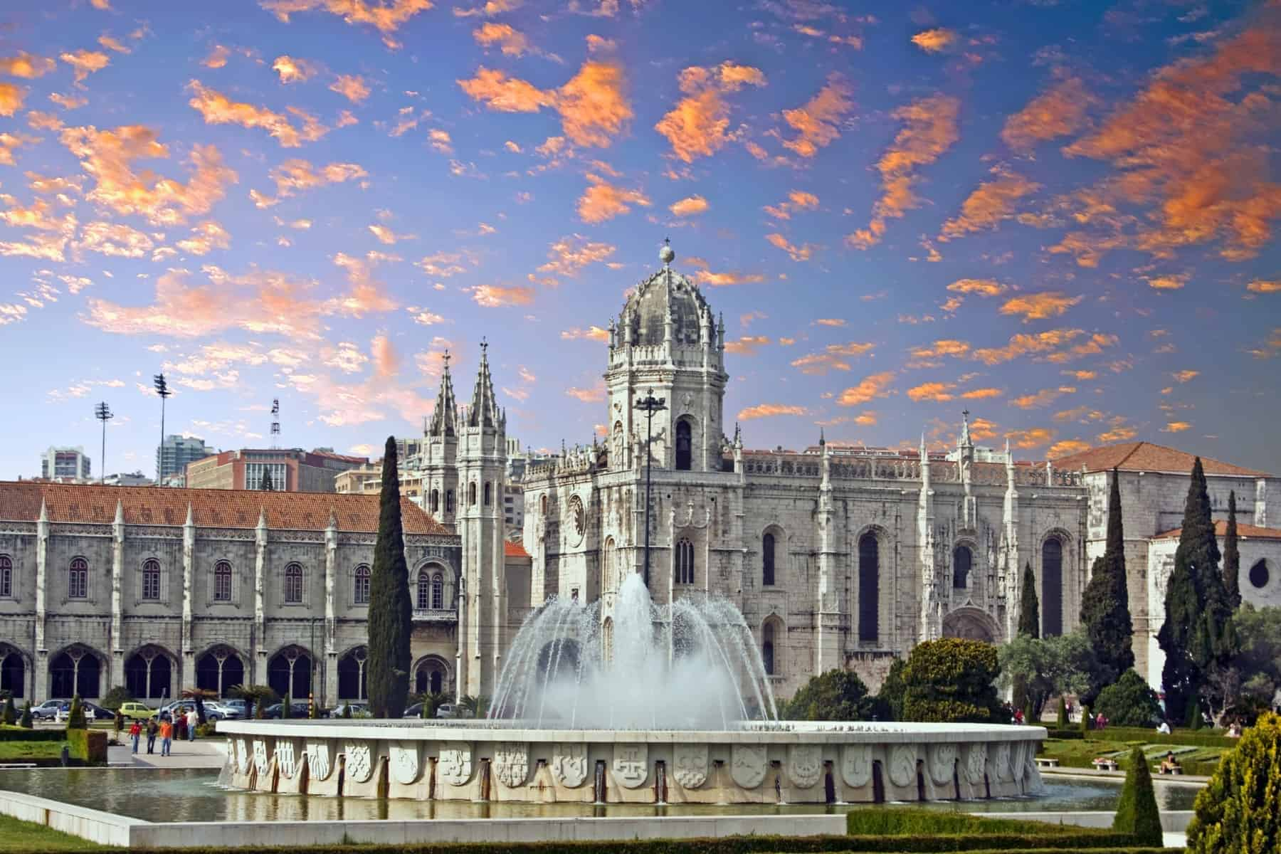 Jeronimos-monastery-in-Lisbon-Portugal-at-sunset