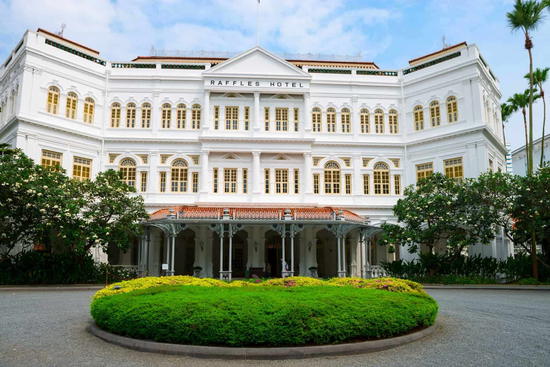 Singapore - September 08, 2012: The Raffles Hotel. Opened in 1899, it was named after Singapore's founder Sir Stamford Raffles.