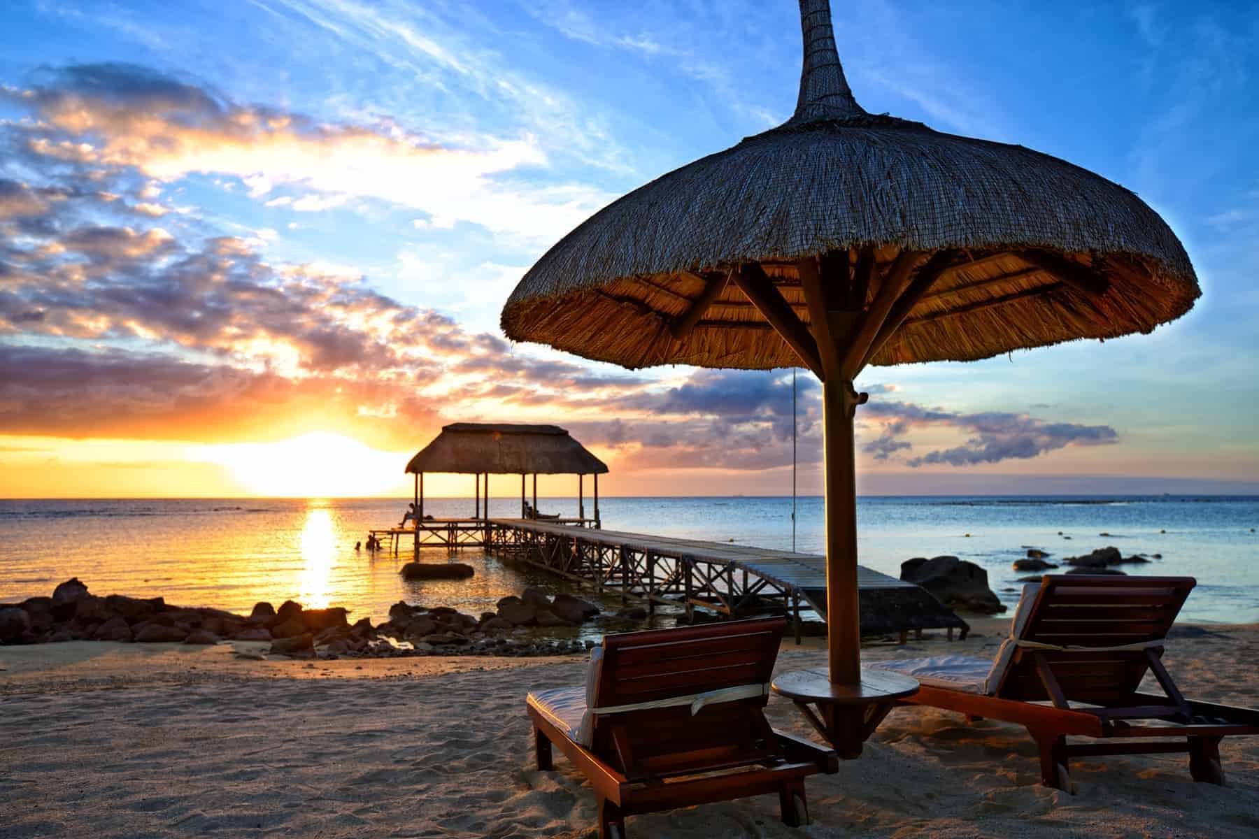 Beautiful sunset in Mauritius Island