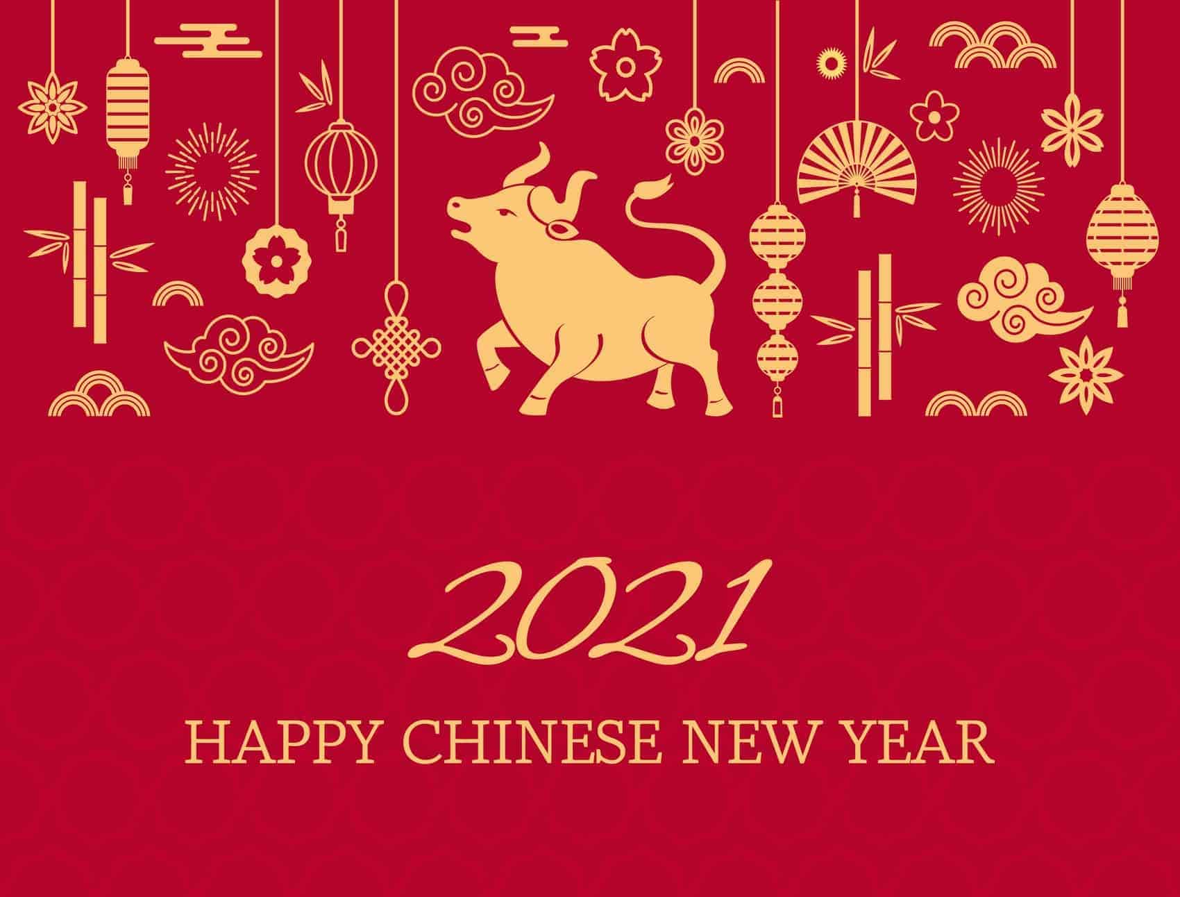 Happy chinese new year. 2021 the white metal ox is a symbol of 2021, the Chinese New Year