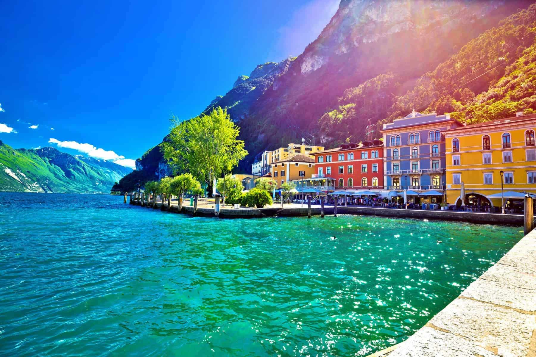 Riva del Garda waterfront view at sunset, Lago di Gada, Trentino Alto Adige region of Italy