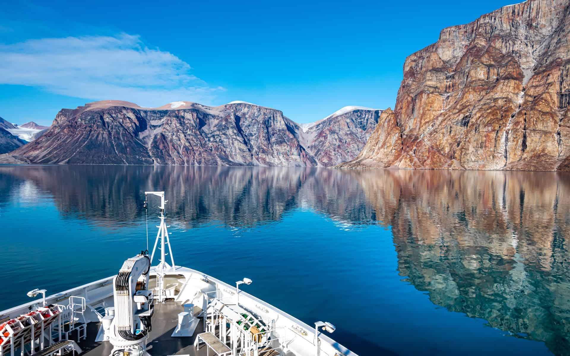 Baffin Island Canada. Expedition cruise ship in Sam Ford Fjord, Baffin sea, Arctic Canada, Nunavut
