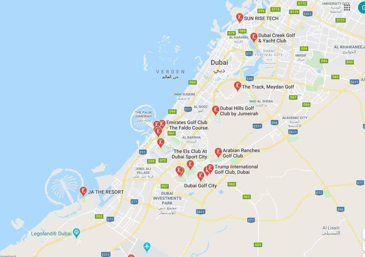 Dubai golf map