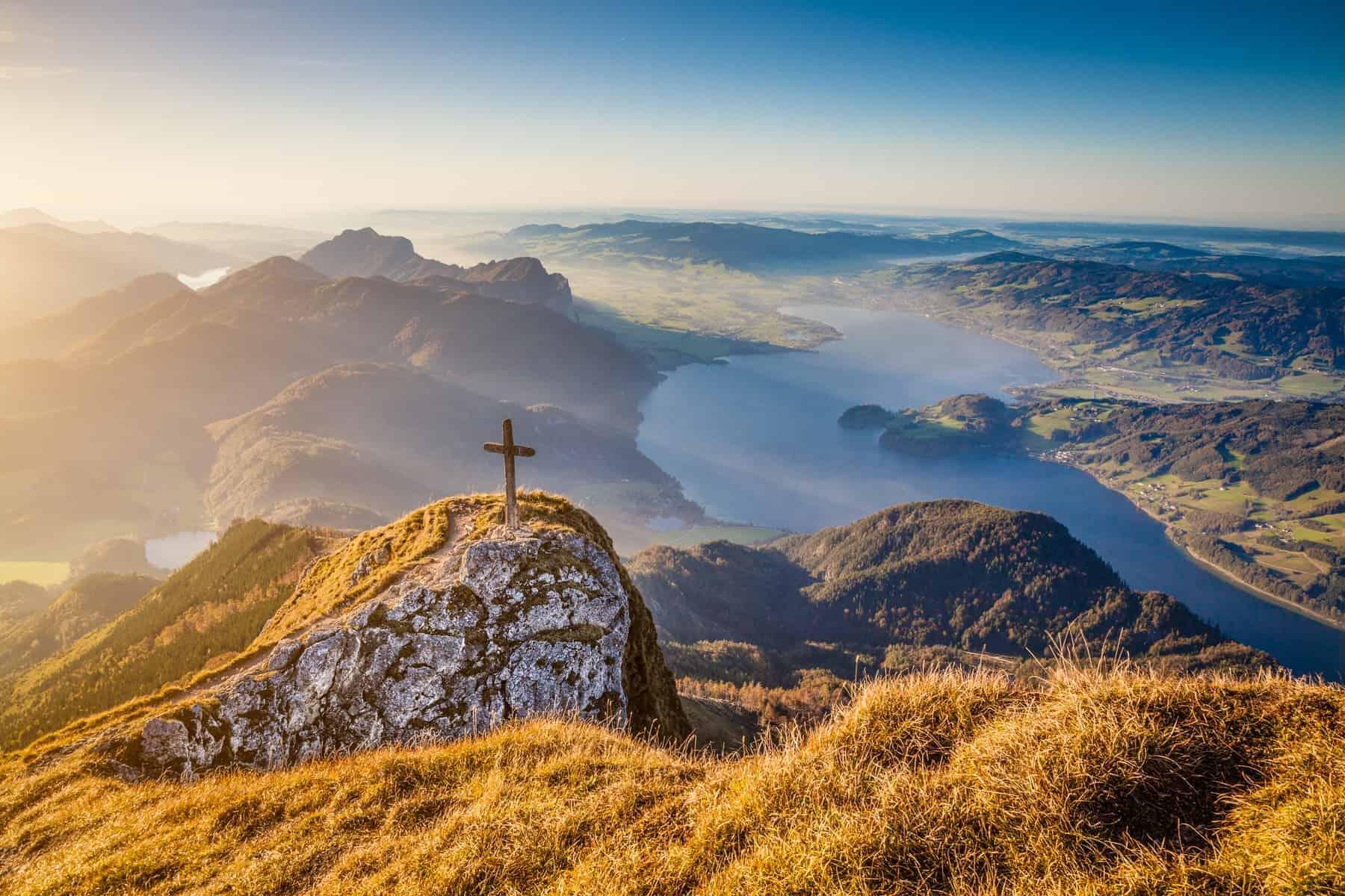Mondsee set fra luften, Østrig