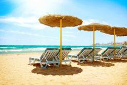 Charterferie, Spain. Beach Costa del Sol. Mediterranean Sea