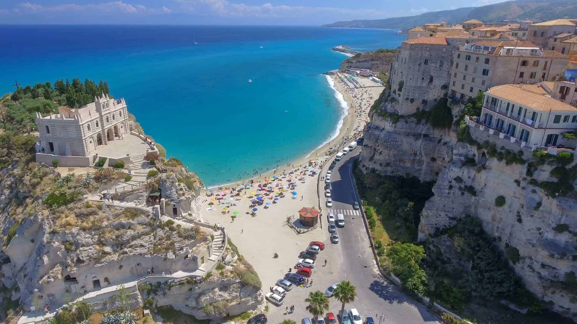 Tropea coastline and beaches in summer, Calabria - Italy.