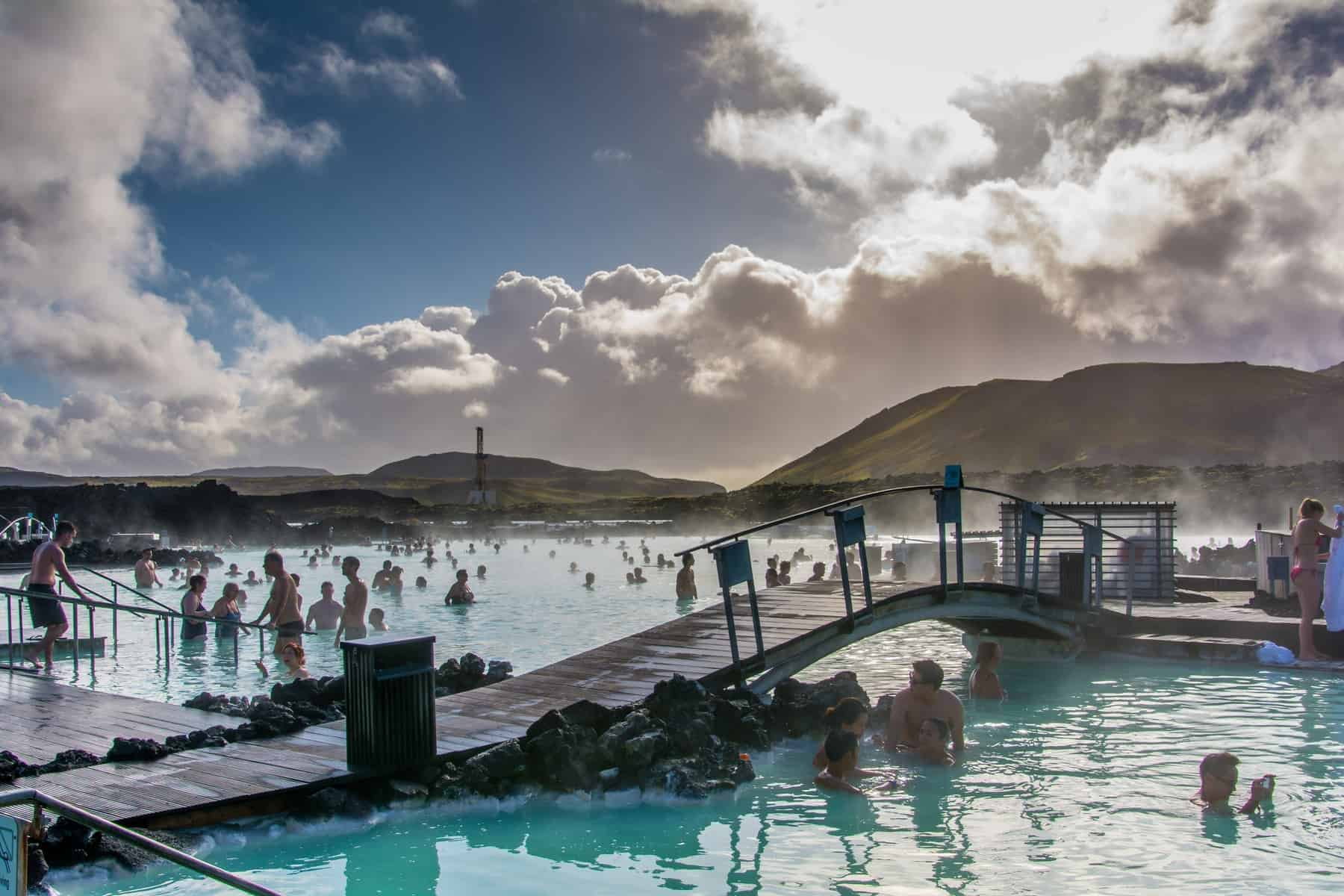 the Blue Lagoon bridge in early morning in Iceland