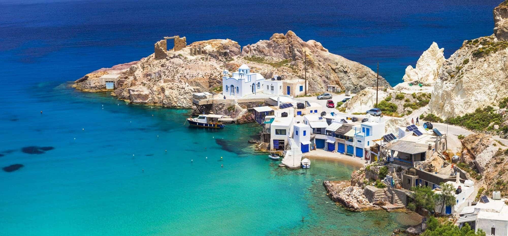 Rejser til Grækenland. Milos, Fyropotamos landsby. De græske øer