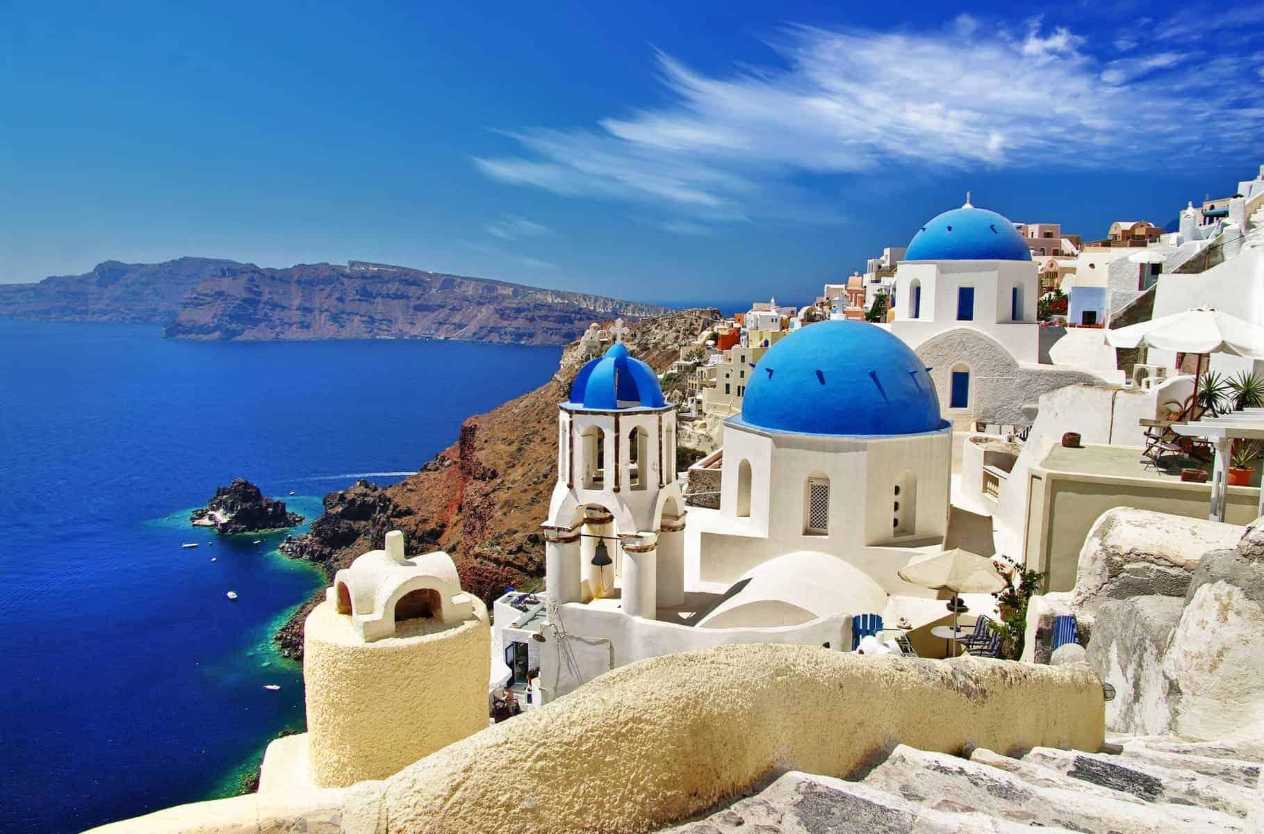 Rejser til Grækenland. Caldera og det berømte blå hvide tema. Grækenland