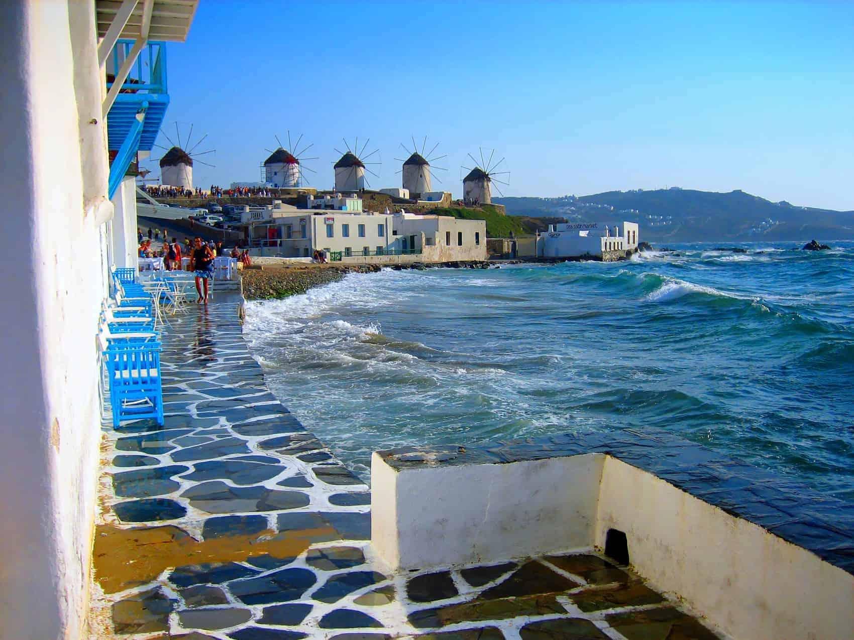 Græske øer. Vindmøllerne på Mykonos, Kykladerne