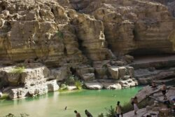 Wadi Shab, Sur, Oman. Wadi Shab is arguably one of the most gorgeous destinations in Oman. Beyond the breathtaking entrance, the wadi rewards you with views of aquamarine pools, waterfalls and terraced plantations;