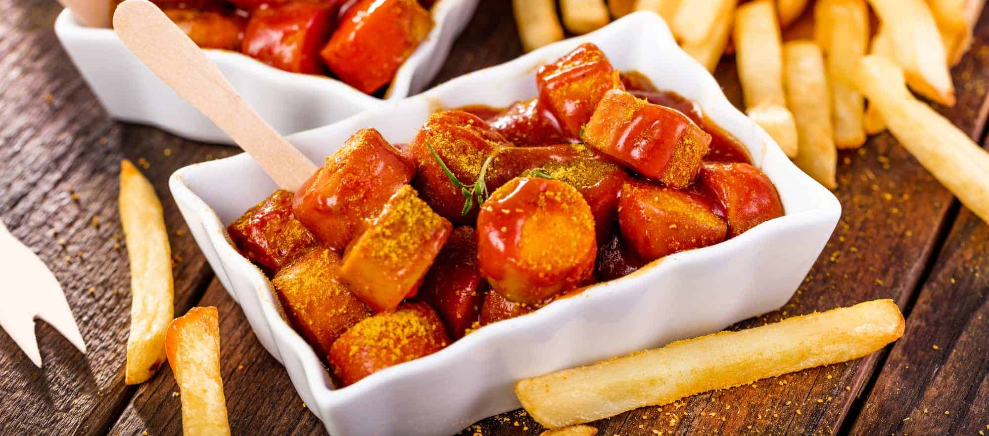 Traditional German currywurst, served with pommes