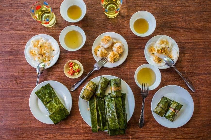 Spicy broth of a bún bò Huế and dumplings, MIdt Vietnam