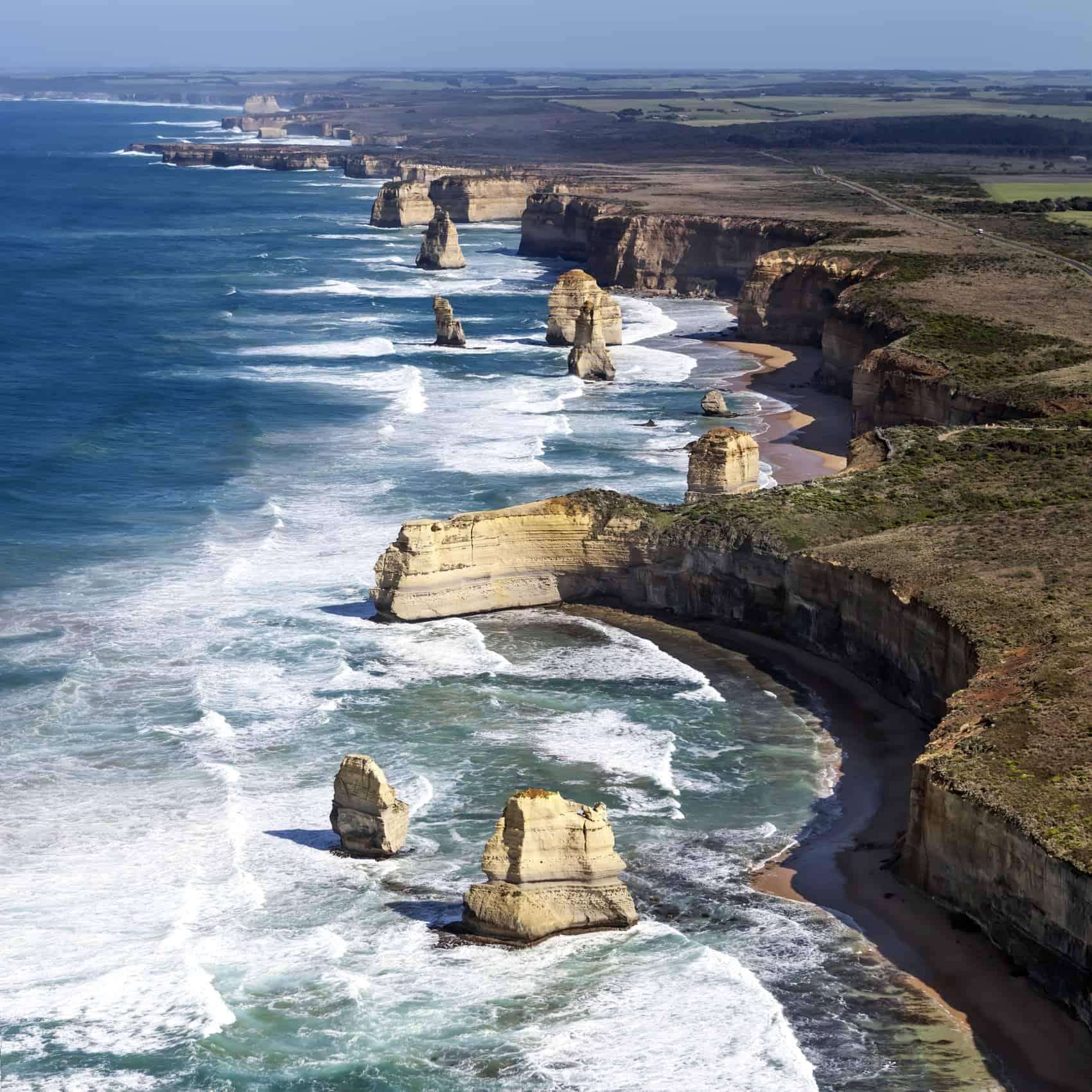 Twelve Apostles, Victoria, Australia, viewed from the air.