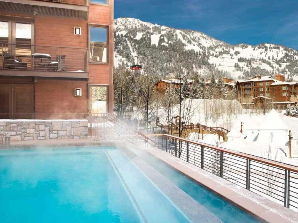 Jackson Hotel outdoor pool in winter