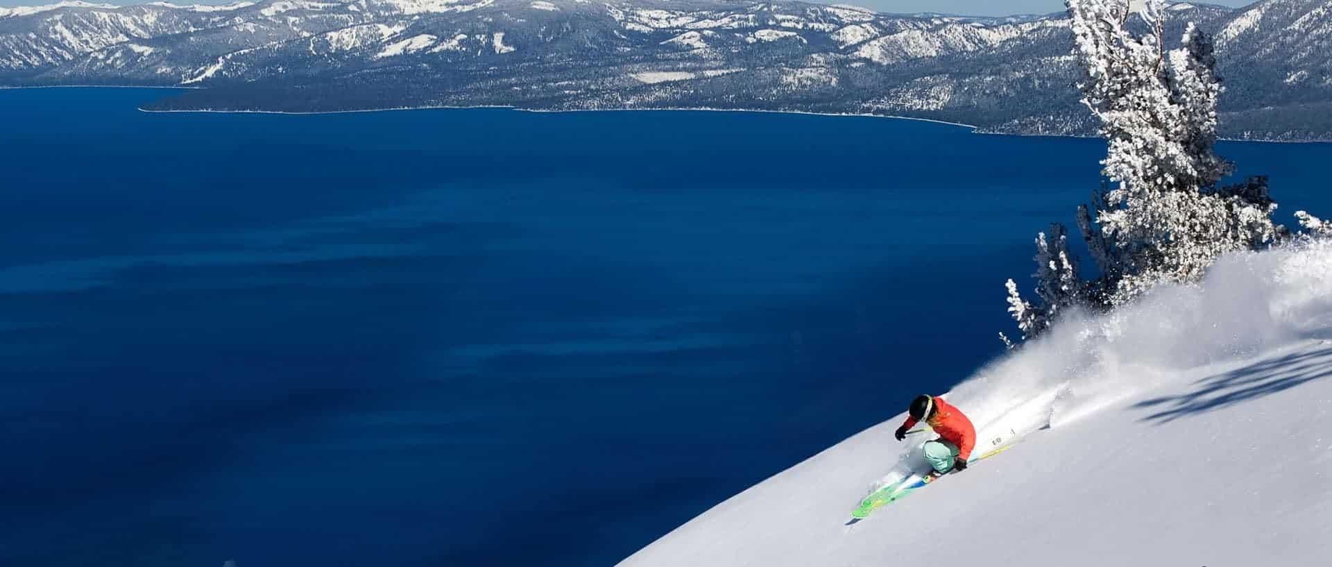 Lake Tahoe ski near lake