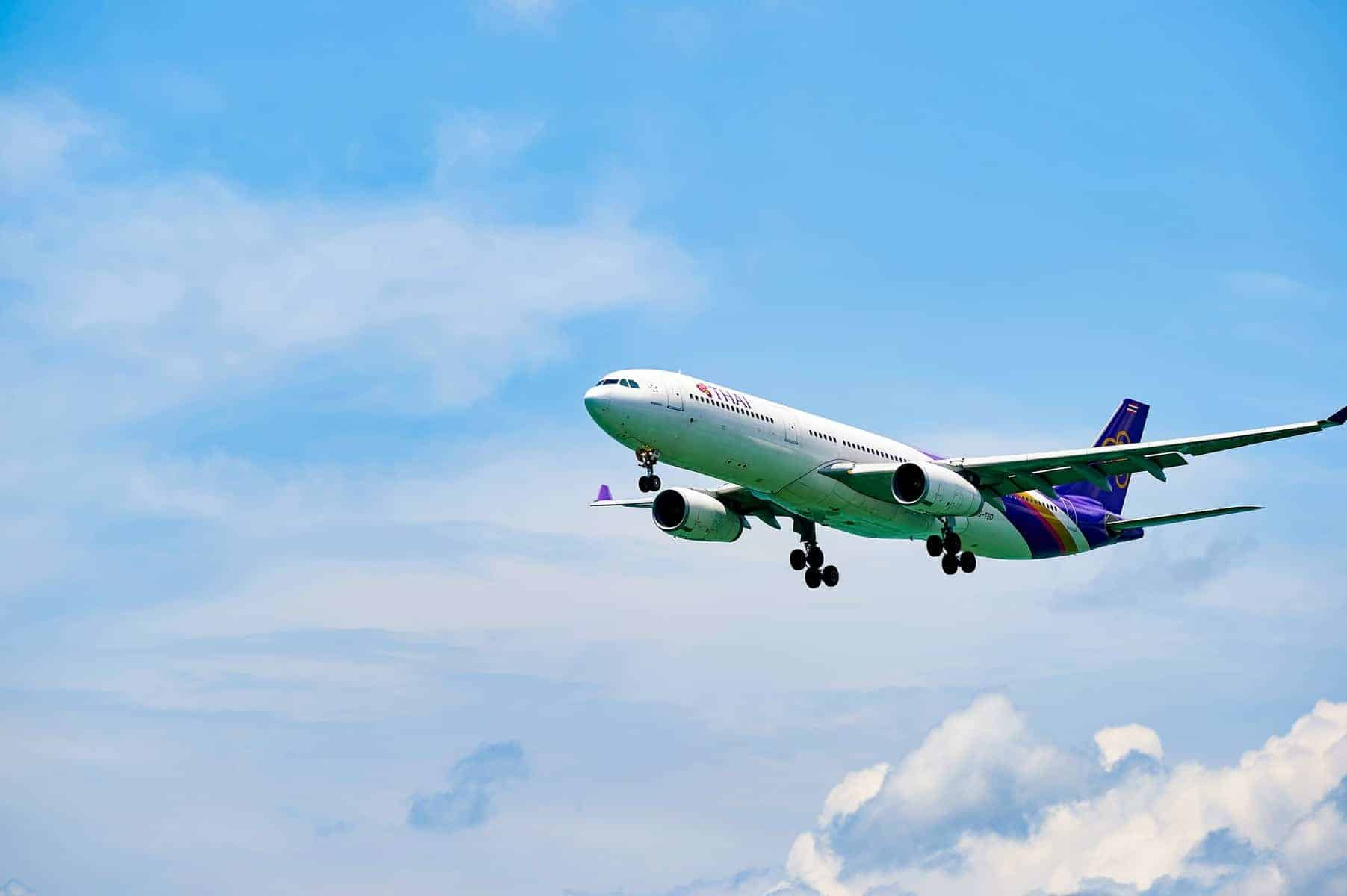 THAI aircraft landing at Hong Kong airport. Thai Airways International Public Company Limited, also trading as THAI is the flag carrier airline of Thailand